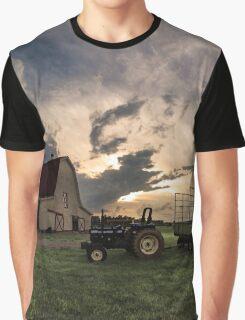Barn Tractor Farm Sunset Graphic T-Shirt