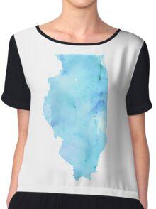 Blue Watercolor Illinois State Chiffon Top