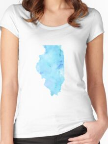 Blue Watercolor Illinois State Women's Fitted Scoop T-Shirt