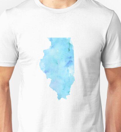 Blue Watercolor Illinois State Unisex T-Shirt