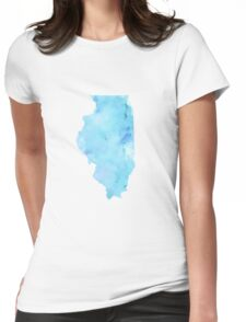 Blue Watercolor Illinois State Womens Fitted T-Shirt