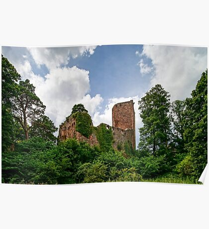 Old medieval fortress ruins of Chateau Landsberg in deep forest, Alsace, France Poster