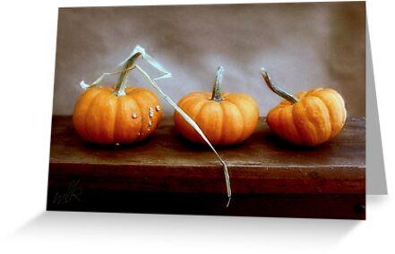 Three Orange Pumpkins Greeting Card by LouiseK