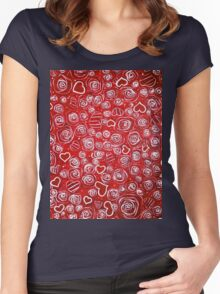 Mom's Garden Roses Flowers Hearts Red White Swirls Dots Joy Love Hope  Women's Fitted Scoop T-Shirt