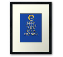 Keep calm and read Eragon (Gold text) Framed Print