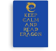 Keep calm and read Eragon (Gold text) Canvas Print