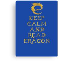 Keep calm and read Eragon (Gold text) Canvas Print