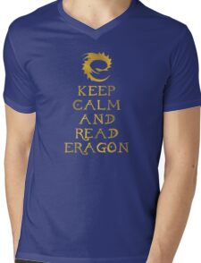 Keep calm and read Eragon (Gold text) Mens V-Neck T-Shirt