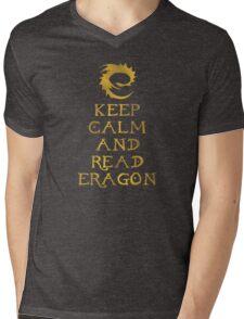 Keep calm and read Eragon (Gold text) Mens V-Neck T-Shirt