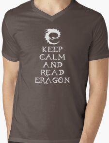Keep calm and read Eragon (White text) Mens V-Neck T-Shirt