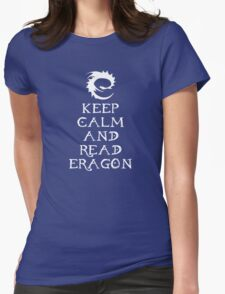 Keep calm and read Eragon (White text) Womens Fitted T-Shirt