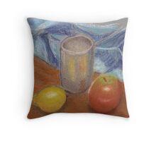 lemon apple still life Throw Pillow