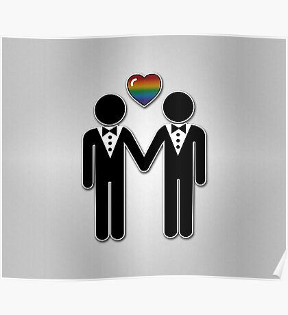 Silhouette Groom and Groom - Tall Poster