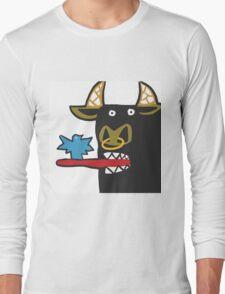 Funny Bull with bird Long Sleeve T-Shirt