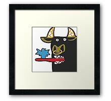 Funny Bull with bird Framed Print