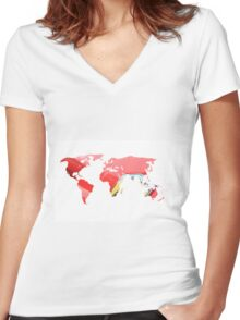 World map of Italian Red Women's Fitted V-Neck T-Shirt