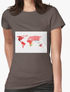 World map of Italian Red Womens Fitted T-Shirt