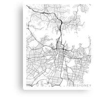 Sydney Map, Australia - Black and White Canvas Print