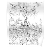 Sydney Map, Australia - Black and White Poster