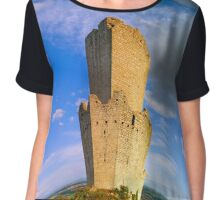 Majestic medieval castle ruins on the top of the hill, Ortenbourg, Alsace, France Chiffon Top