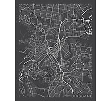 Brisbane Map, Australia - Gray Photographic Print
