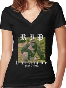 RIP HARAMBE Women's Fitted V-Neck T-Shirt