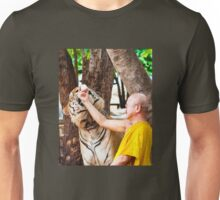 Buddhist monk feeding with milk a bengal tiger  Unisex T-Shirt