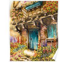 Hollyhock Cottage Poster