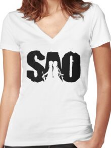 SAO Women's Fitted V-Neck T-Shirt