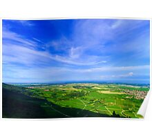 Majestic overview to the beautiful valley from the top of the hill, Alsace, France Poster