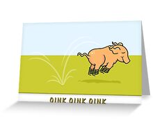 Jumping Pig Greeting Card