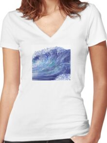 Pacific Waves Women's Fitted V-Neck T-Shirt