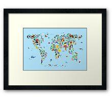 Animal Map of the World for children and kids Framed Print