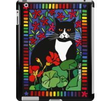 Black and White Cat in the Garden iPad Case/Skin