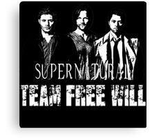 Supernatural Team Free Will White silhouette Canvas Print