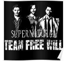 Supernatural Team Free Will White silhouette Poster