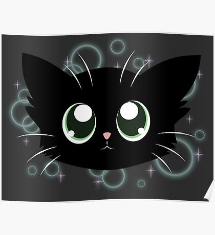 Sparkly Kitty Face Poster