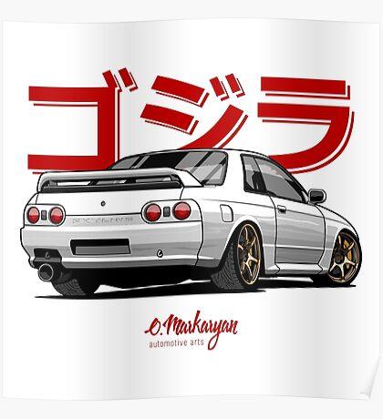 Nissan Skyline GTR R32 (white) Poster