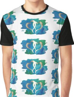 Two Gold Hearts on Watercolor Background Graphic T-Shirt