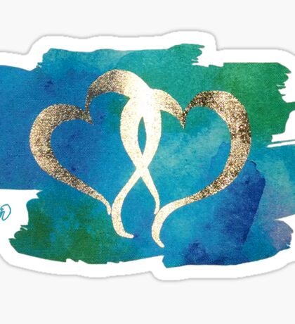 Two Gold Hearts on Watercolor Background Sticker