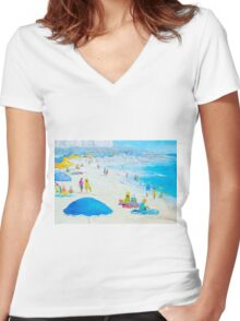 Miami Beach, Florida - Beach painting Women's Fitted V-Neck T-Shirt