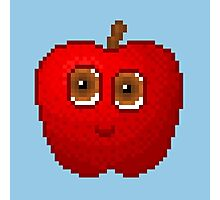 Apple Pixel Smile - Blue Background Photographic Print