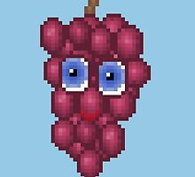 Grape Pixel Smile - Blue Background by CraftSalad
