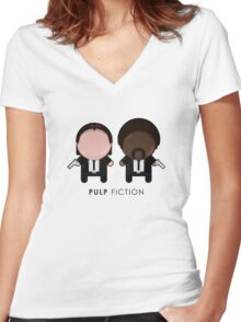 Pulp Fiction // Jules and Vincent Women's Fitted V-Neck T-Shirt