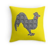 Gray rooster drawing on different colorful backgrounds Throw Pillow