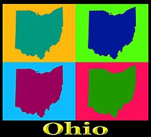 Colorful Ohio State Pop Art Map by KWJphotoart