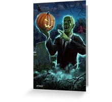 Halloween Ghoul rising from Grave with pumpkin Greeting Card