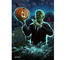 Halloween Ghoul rising from Grave with pumpkin Photographic Print