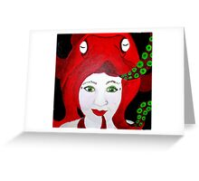 Lady Cephalopod in Red Greeting Card