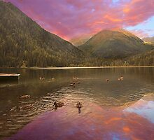 Sunset at Lake Etrach in the alps by Delfino